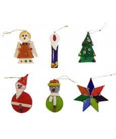 Lotto sei pezzi ornamenti natalizi