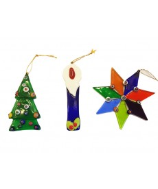 Lotto tre pezzi ornamenti natalizi