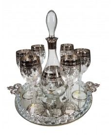 Glass set platinum decoration with tray